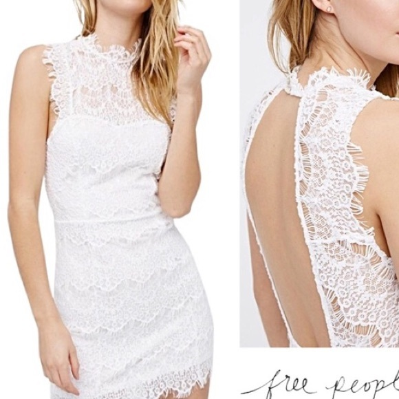 NWOT- Free People Lace Backless White Dress